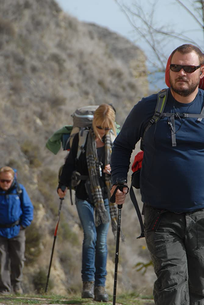 """two men one woman hiking in """"The Way"""""""