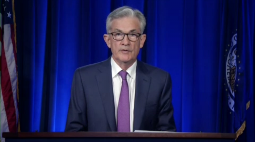 FOMC Chair Powell delivers opening remarks at the July 29, 2020 press conference